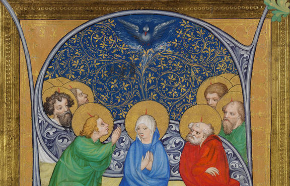 The descent of the Holy Spirit (Pentecost), 1415. Found in the collection of the Szepmuveszeti Muzeum, Budapest