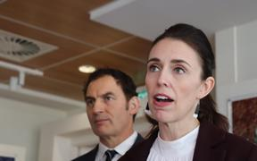 Napier MP and minister for small business Stuart Nash and Prime Minister Jacinda Ardern address media in Napier on Friday, 29 May.