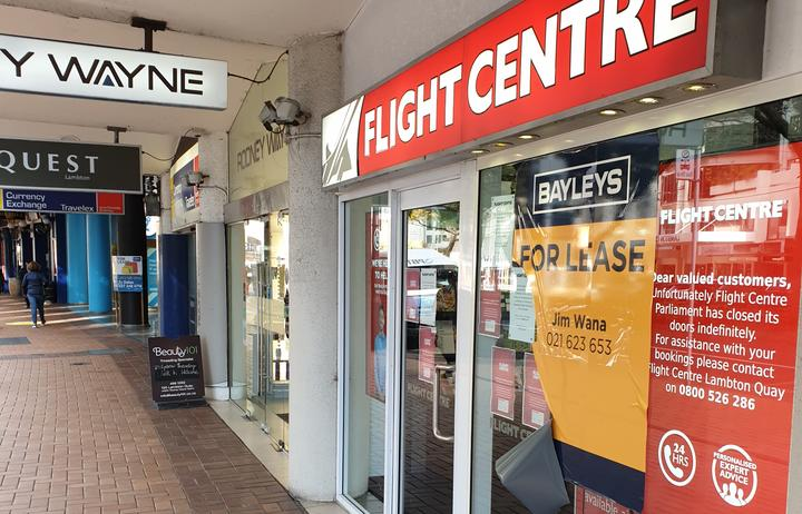 For lease sign on Flight Centre store in Wellington.