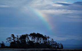A rainbow over Haulashore Island.