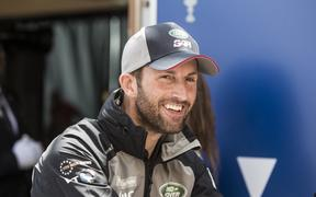 Land Rover BAR skipper Sir Ben Ainslie smiles during the skippers press conference for the 35th Americans Cup in Hamilton, Bermuda on May 25, 2017.