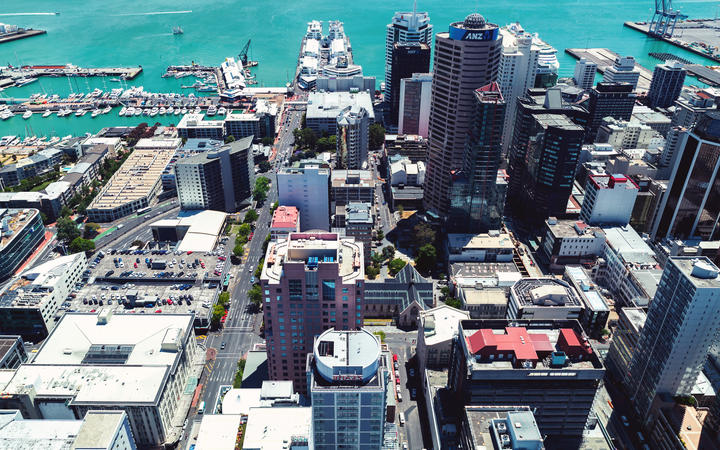 AUCKLAND, NEW ZEALAND - DECEMBER, 2017: Auckland downtown aerial view.