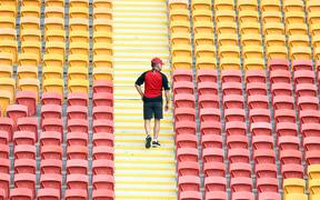 A Crusaders supporter during super Rugby game at Suncorp Stadium, Brisbane.