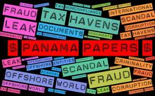 A montage of words relating to the Panama papers