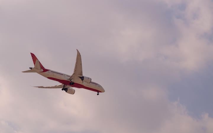 Air India Airline Boeing 787 dream liner arriving or landing.