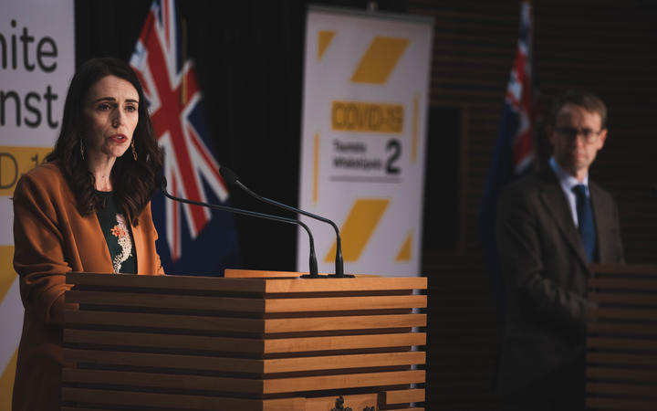 Prime Minister Jacinda Ardern and Director-General of Health Ashley Bloomfield at the post-Cabinet media conference on 8 June, 2020.