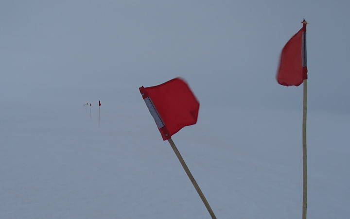 Small flags mark the safe route to walk during a white-out on the sea ice in front of Scott base, Antarctica.