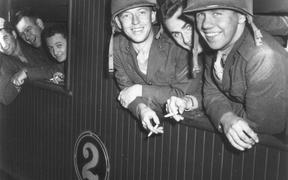 US marines on board a train which is to take them to their camp at Paekākāriki. 14 Jun
