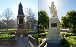 Queen Victoria and Captain James Cook statues in Christchurch