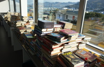 Books wait to go on the shelves at Lyttelton School.