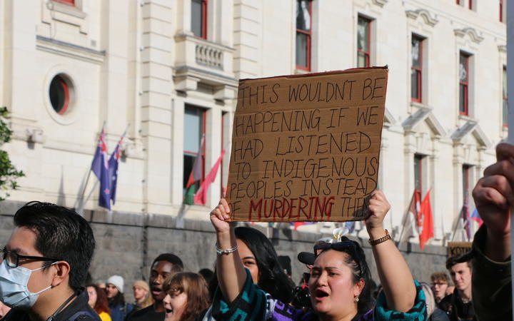 Protesters hold up their signs in Aotea Square, Auckland at the Black Lives Matter rally on 14 June, 2020.