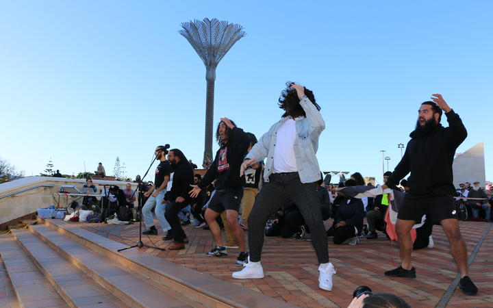 A haka was performed in Civic Square before the march to Parliament and protesters were asked to take a knee on 14 June, 2020.