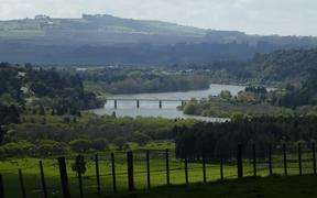 A bridge over the Waikato River near Tuakau.