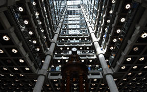 In this file photo taken on March 30, 2017 The interior of Lloyd's of London, the centuries-old insurance market, is pictured in the City of London on March 30, 2017.