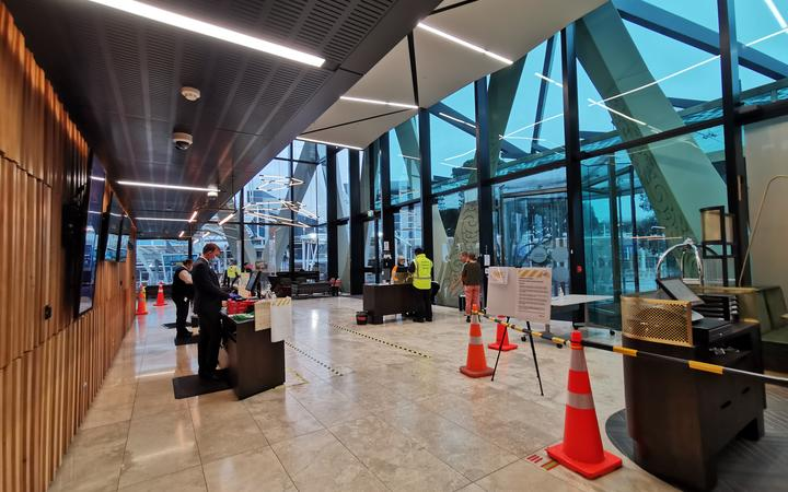 The foyer of the Novotel at Auckland Airport.