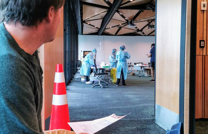 The testing area for Covid-19 at Novotel Auckland Airport hotel.