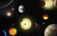 An artist's concept depiction of select planetary discoveries made to date by NASA's Kepler space telescope.