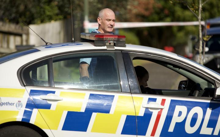 Police at the scene of a shooting in Massey, Auckland.