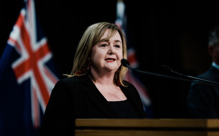 Housing Minister Megan Woods speaking at a media conference after an announcement that she would take charge of managed isolation and quarantine of returning New Zealanders, after a series of failures.