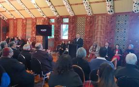 Māori Party president Che Wilson at the party campaign launch stressing the need to encourage Māori to vote in September.