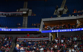 The upper section of the arena is  partially empty at US President Donald Trump's rally in Tulsa, Oklahoma, 20 June.