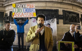 Rallying for justice on the circumstances of Cedric Chouviat's death on 3 January, after a police check. In the presence of the family's lawyer, Master Arie Alimi and Adama Traore's sister, Assa Traore. Place de la Republique, Paris.
