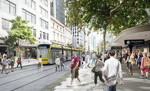 Queen Street pedestrianised with light rail