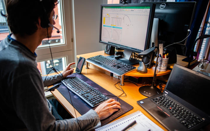 A man from a company based in North Brabant is working from home during the Coronavirus crisis in The Netherlands, on 13 March 2020.