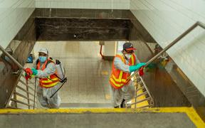 New York Subway MTA officials are seen cleaning and disinfecting during the coronavirus Covid-19 pandemic in the United States on June 8, 2020.