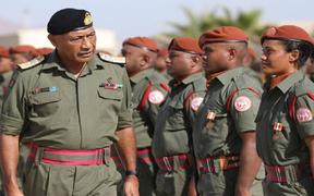 Fiji military commander Viliame Naupoto visiting Fijian troops in Sinai in November, 2019.