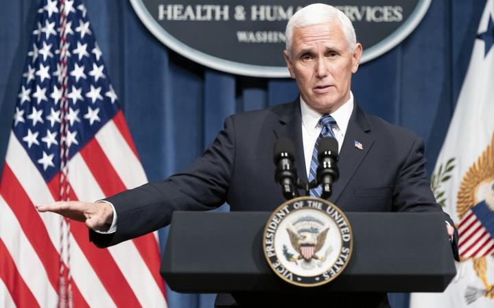 WASHINGTON, DC - JUNE 26: Vice President Mike Pence speaks after leading a White House Coronavirus Task Force briefing at the Department of Health and Human Services on June 26, 2020 in Washington, DC.
