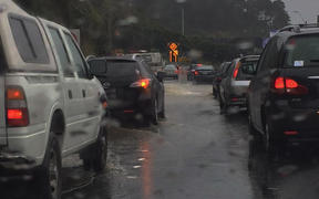 Gridlock in Wellington as a result of the rain.