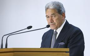 Deputy Prime Minister Winston Peters speaks to media during a press conference on Budget 2020 delivery day at Parliament May 14, 2020 in Wellington, New Zealand.