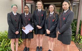 Gisborne Girls' High School students Madison Haggland (left), Talia Chetty, Leah Scholefield, Emily Horne and Samara Wharehinga-Walters put their concerns to Hauora Tairawhiti board members yesterday.