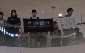 Pro-independence protestors in Hong Kong