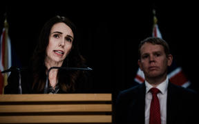 Prime Minister Jacinda Ardern attended a separate conference with Chris Hipkins after David Clark announced he was stepping down as minister of health.
