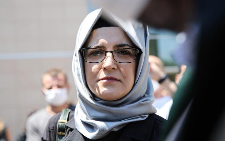 Saudi journalist Jamal Khashoggi's fiance and plaintiff Hatice Cengiz speaks to media after testifying in the trial of 20 Saudi nationals over the 2018 killing of Khashoggi, in Istanbul, Turkey on July 03, 2020.