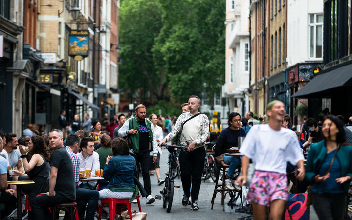 Customers enjoying their drinks in Soho during the &Super Saturday& in London, Britain, 04 July 2020.