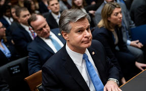 "FBI director Christopher Wray arrives at a full committee hearing on ""Oversight of the Federal Bureau of Investigation"" on Capitol Hill February 5, 2020, in Washington, DC."
