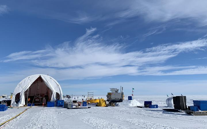 Research camp - the large tent houses the hot-water drill, used to drill through 600 metres of ice to access the seawater below the Ross ice shelf.