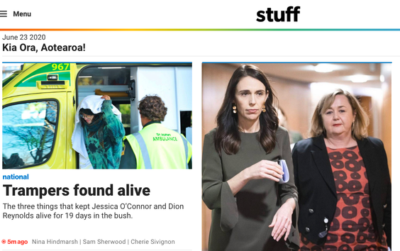 Stuff's new website - now largely free of the clickbait-syle stuff that once clogged it up.