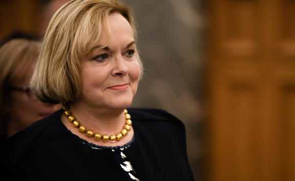 National Party leader Judith Collins following the emergency caucus meeting on 14 July.