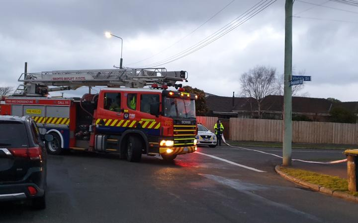 A fire truck at the scene of a fatal house fire in Vivian Street, Burwood, Christchurc on 15 July.