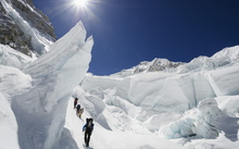 Climbers in the Khumbu icefall, Mt Everest, in 2012.