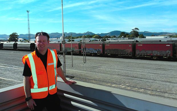 A photo of Jason Lawn at Kiwi Rail's Middleton yard.