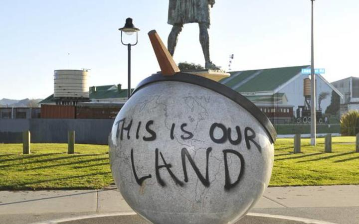 Graffiti on the statue of James Cook in Gisborne was removed by the council today.