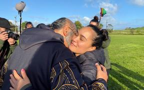 Pania Newton, co-founder of Save Our Unique Landscape (SOUL) at Ihumātao. Occupiers gathered to mark a year since the eviction notice for the disputed land was served.