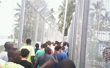 Protest by refugees and asylum seekers on Manus Island.
