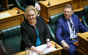 National Party leader Judith Collins asks her first question as leader of the Opposition to the Prime Minister Jacinda Ardern