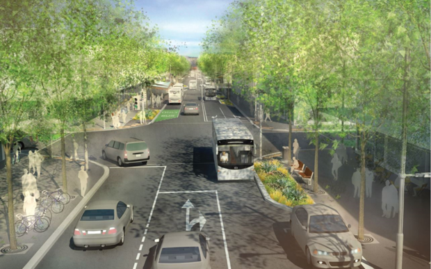 An artist's impression of the widened Manchester Street.